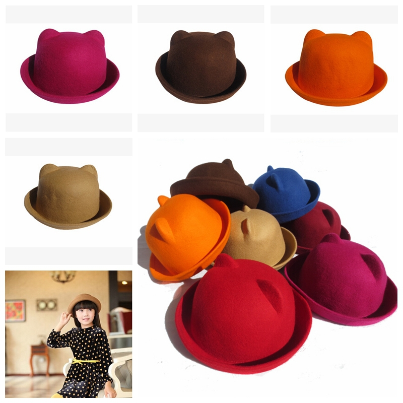 ad3155ae115 Hot selling autumn hat fedora vintage wool bowl hat wool brim hat toddler fedora  hats bowknot black brown camel free shipping