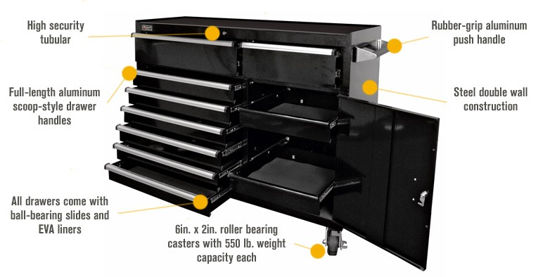 Heavy duty 72in 22 drawers black workshop Garage storage mobile rolling Tool cart Workbench