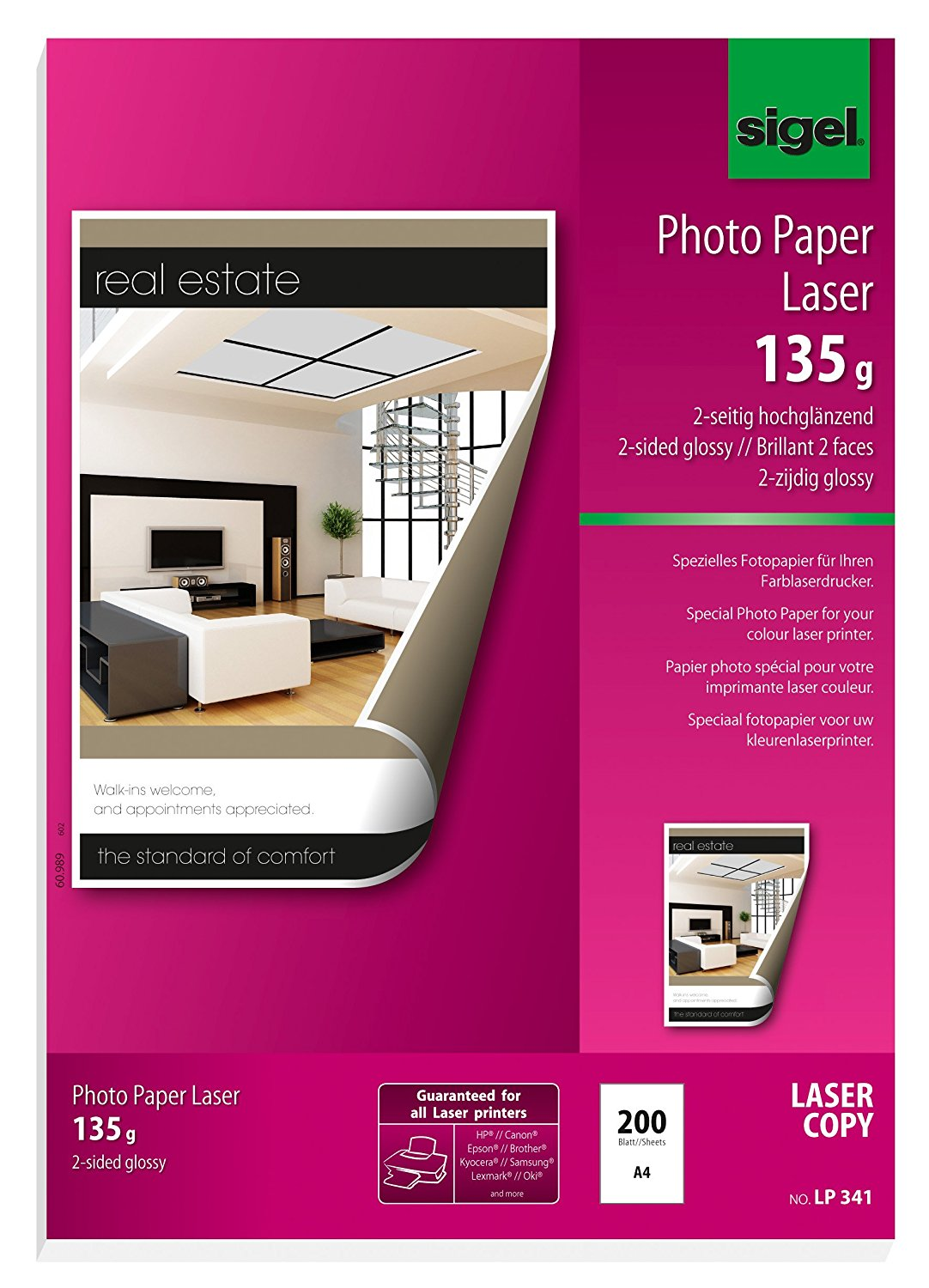 Sigel LP341 Photo Paper for Colour Laser/Copier, 2-sided glossy, 91.2 lbs, A4, 200 sheets