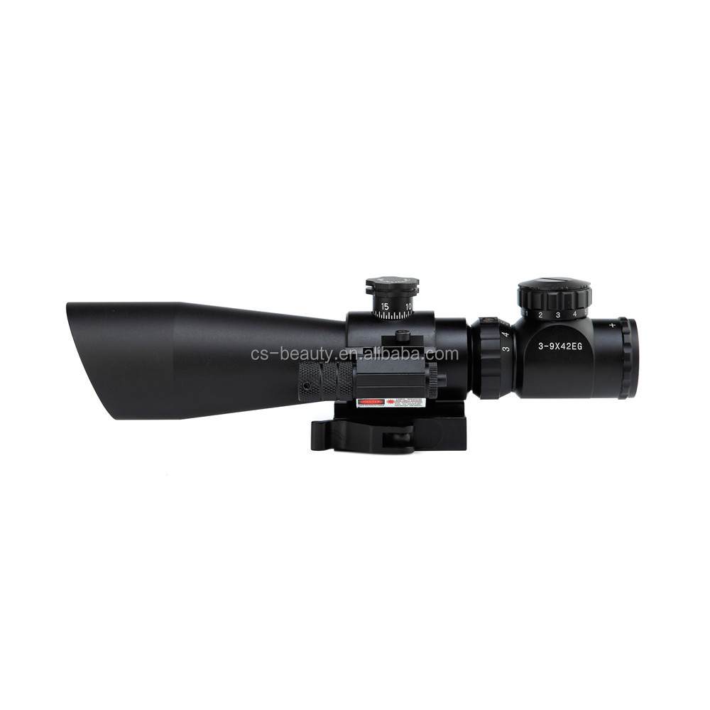 New 3-9x42EG Hunting Rifle Scope Red Green Dot Illuminated Telescopic Sight Riflescope w/ Tactical Red Laser Scope Sight