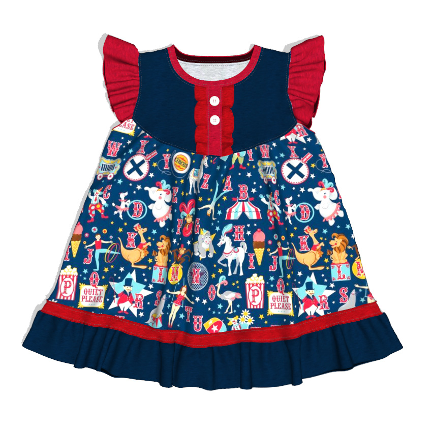 girl boutique cartoon printed children clothing Christmas sleeveless dress