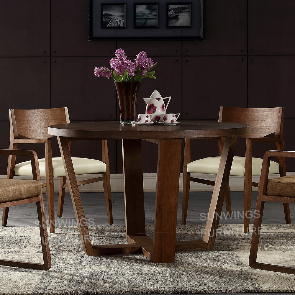 Rotación de mesa redonda de comedor mesa de comedor de madera de ...