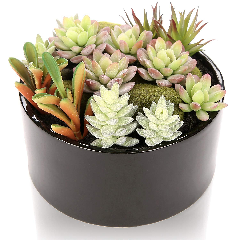 MyGift 6 inch Realistic Artificial Faux Mixed Succulent Plants Arrangement w/Black Round Ceramic Vase