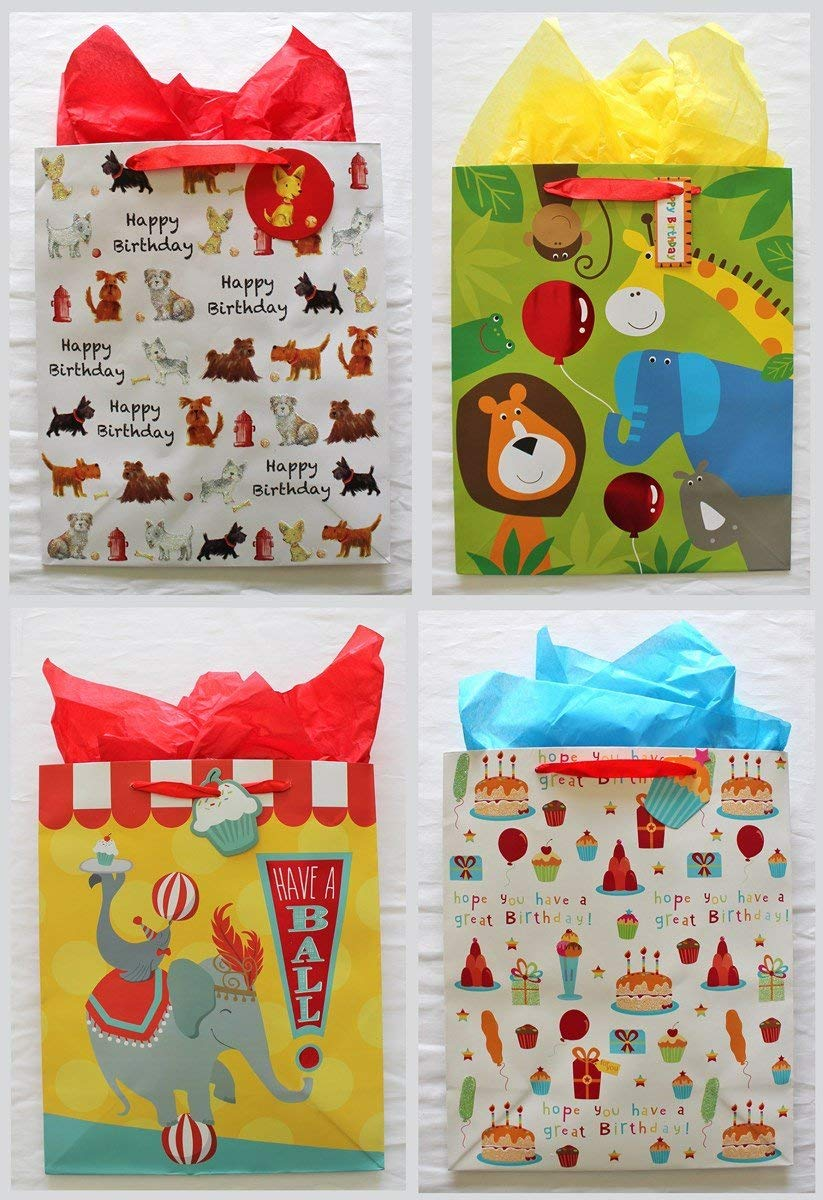 "Happy Birthday Party Gift Bags 10"" x 12"" x 5"", Assorted Designs, with attached Gift Tags and Tissue Paper - Pack of 4"