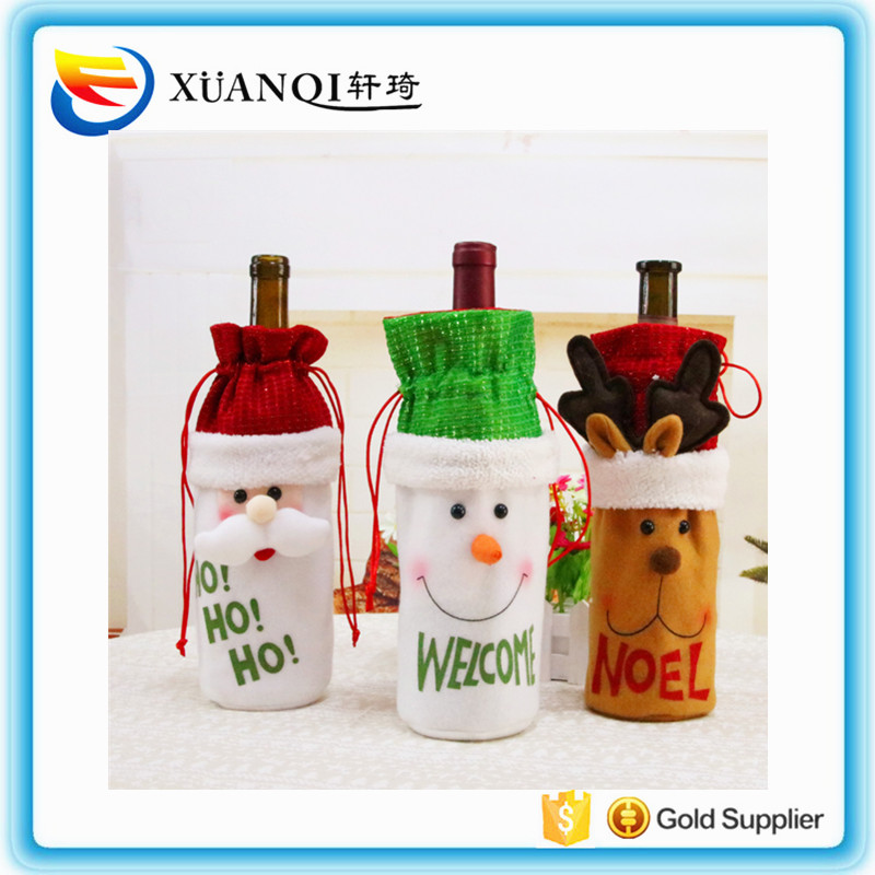 Hot selling Sequin Christmas decorations wine bottle Sequin bottle red wine bottle cover gift bag on stock
