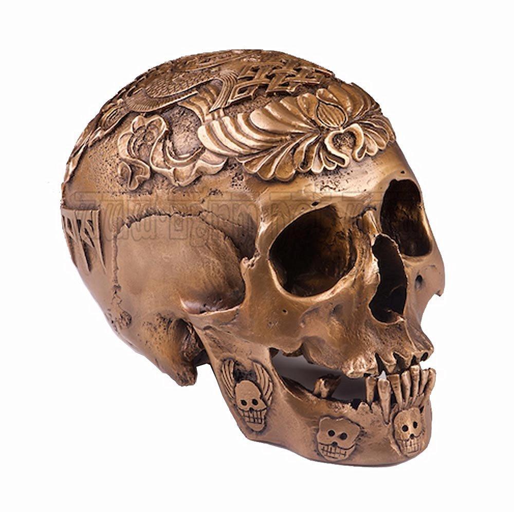 Handmade Fine Bronze Casting 1:1 Kapala Carved Human Skull Tibetan Buddhism Scripture Fish Tai Chi OD94