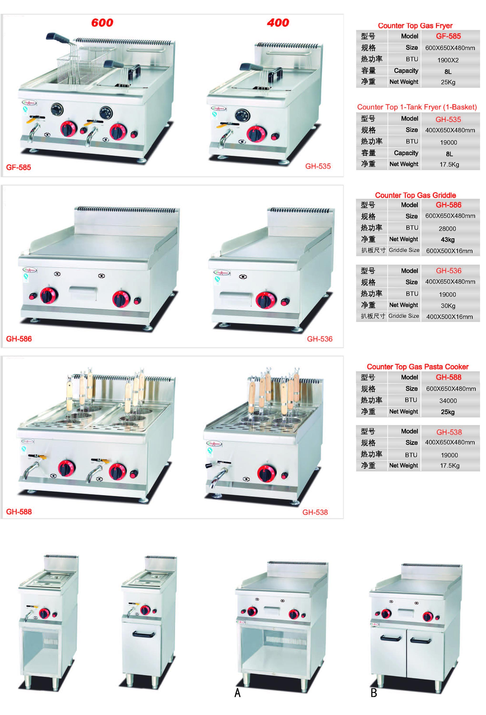 Automatic Temp. Control Counter Top 2 Burner Gas Fryer
