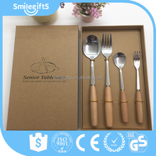 New Product High Quality Stainless Steel Tableware,wooden handle Cutlery