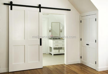 American Style Modern Designs White Interior Sliding Wooden Door With Heavy Duty Barn Flat