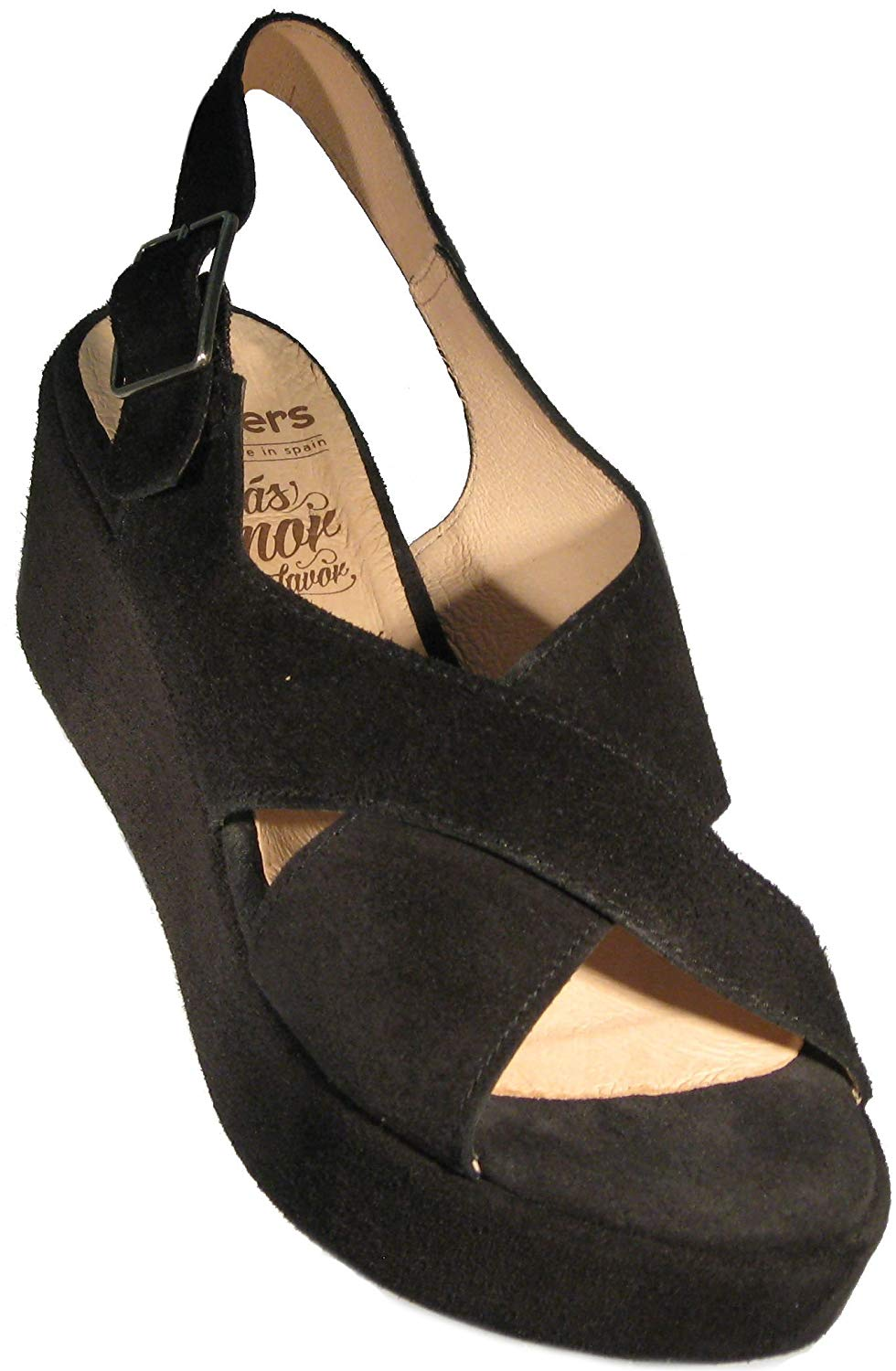 b069b445831b Get Quotations · Wonders Women s  Baker  Platform Sandal in Black Suede