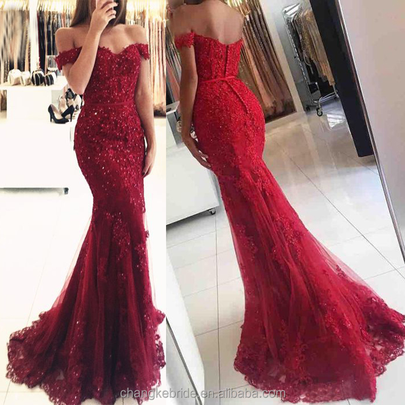 Mewah Evening Dresses Baru Burgundy Renda Pola Peregangan Bodycon Formal Evening Gown Red Carpet Dress China 2018