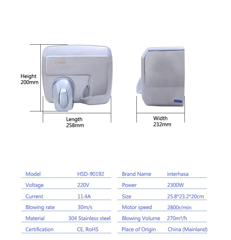 Professional wall mounted automatic salon high speed hand dryer