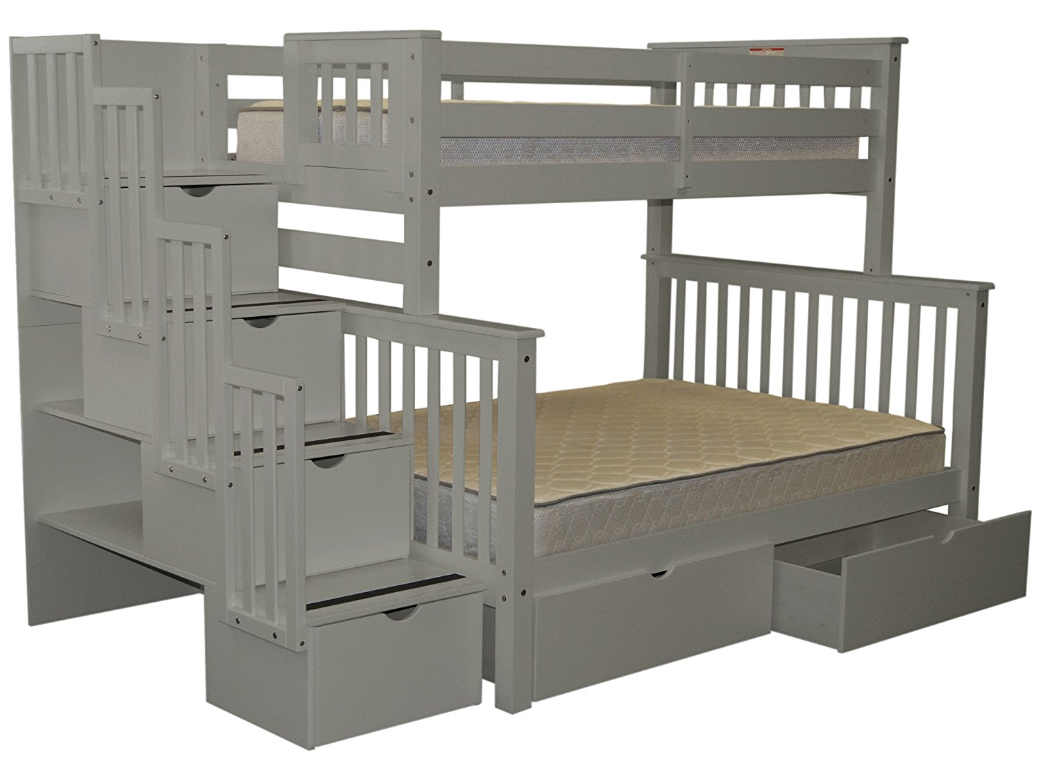 Buy Bedz King Stairway Bunk Beds Twin Over Full With 4 Drawers In