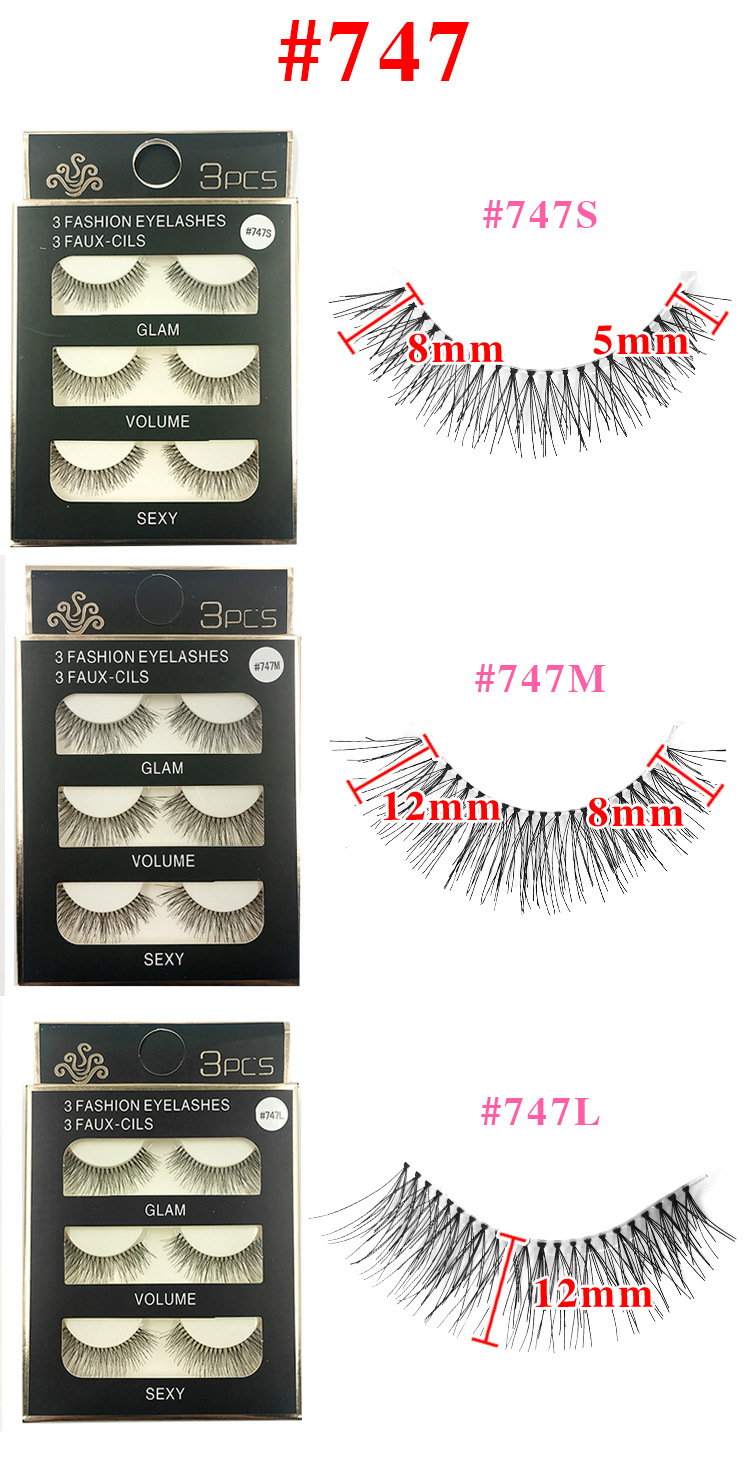 Daily Application Natural Looking False Lashes Clear Band Silk Eyelashes 747M