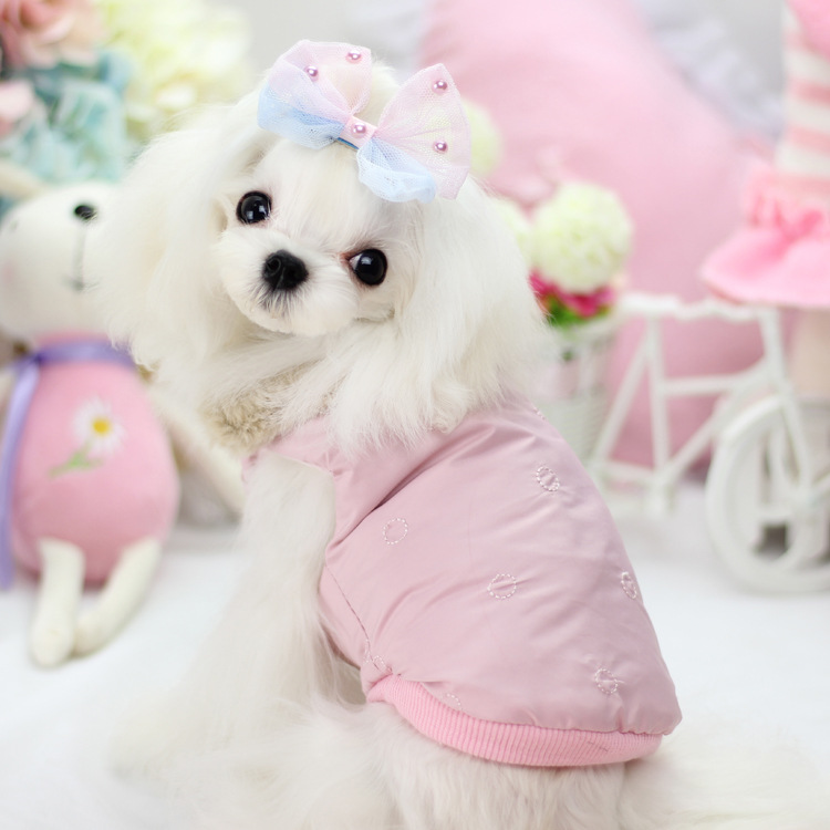 Cute The Little Flower Down Jacket Upset Collars Dog Clothes