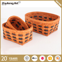 Factory Exquisite Cheap Oval Handmade Wooden Chips Woven Storage Basket
