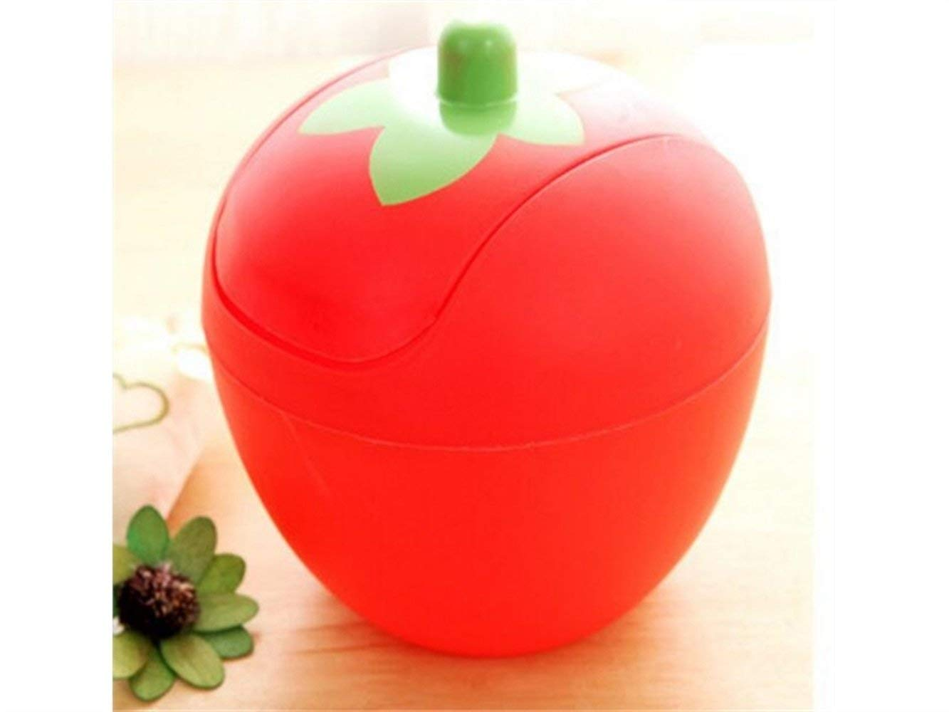 Yuchoi Perfectly Shaped Creative Mini Desk Strawberry Table Waste Bin House Trash Can (Red)
