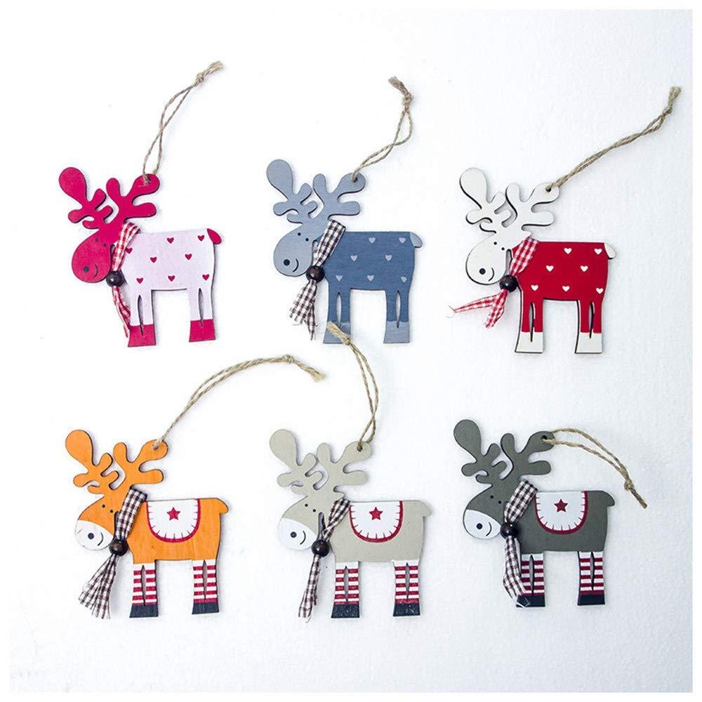 Amiley Mini Christmas Decoration, Wood Elk Christmas Tree Ornaments Home Xmas Tree Decor House Decorations Gift (Beige)