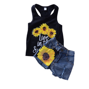 2018 summer new Casual child girl clothes Set Black printed sleeveless vest + denim shorts kid girl clothing outfit