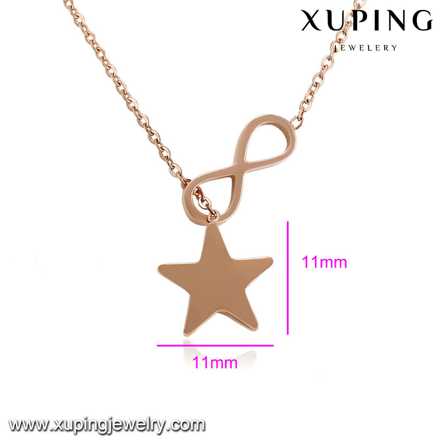 43863 Xuping beautiful girls jewelry star and infinite shaped rose gold plated pendant necklace