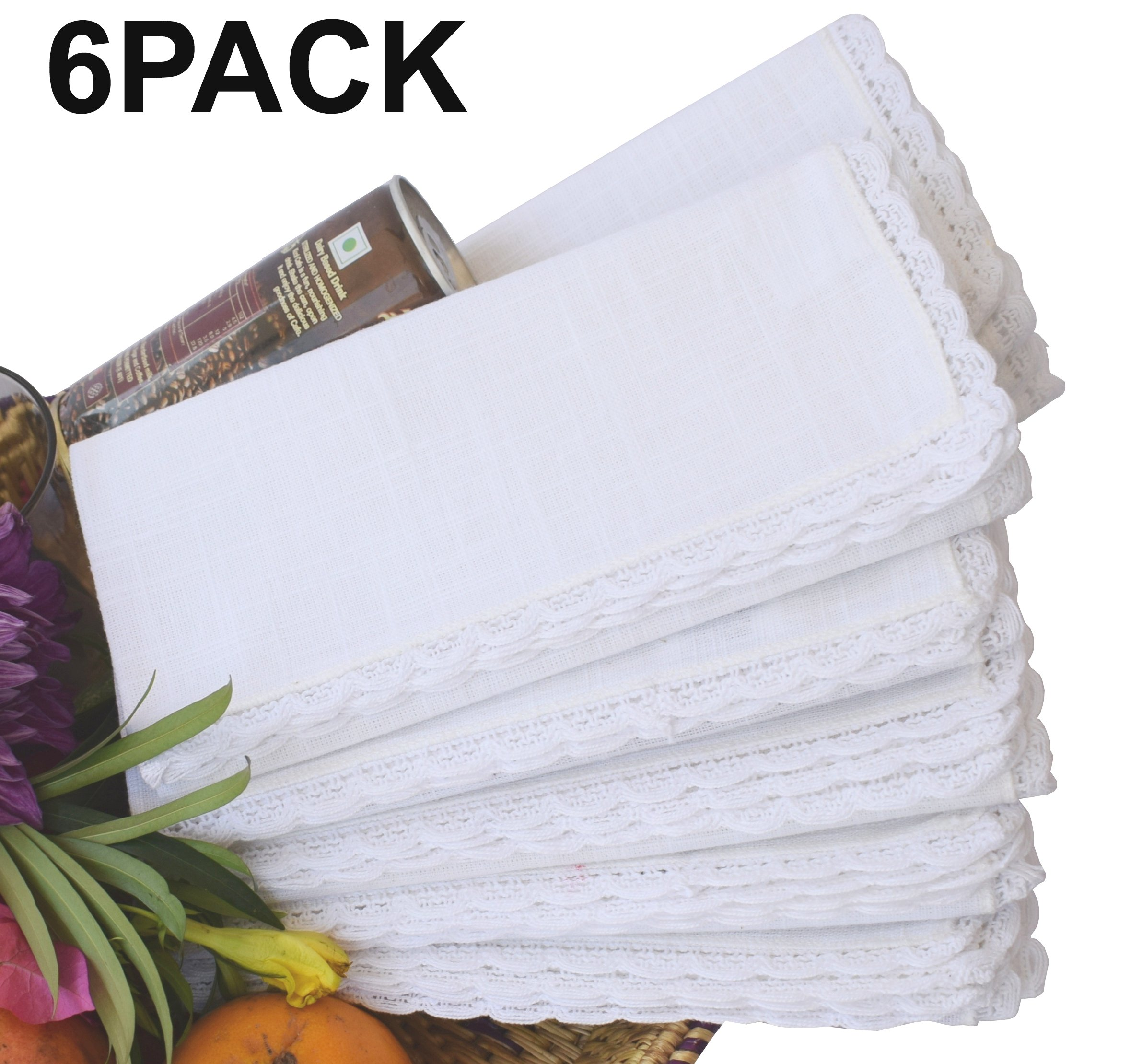 Linen Clubs - Slub Cotton Dinner Napkins with Crochet Lace - White - 16x16 (Set of 6) - 100% Egyptian Slub Cotton with Linen Look - Elegant Cloth - Super value Hand made Ladder Lace Look Napkins