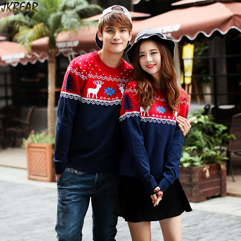 4d93d76a98 ... Contrast Color Matching Christmas Sweaters for Couples Cute Reindeer  Snowflake Printed Pullovers XS-XXL 1 ...
