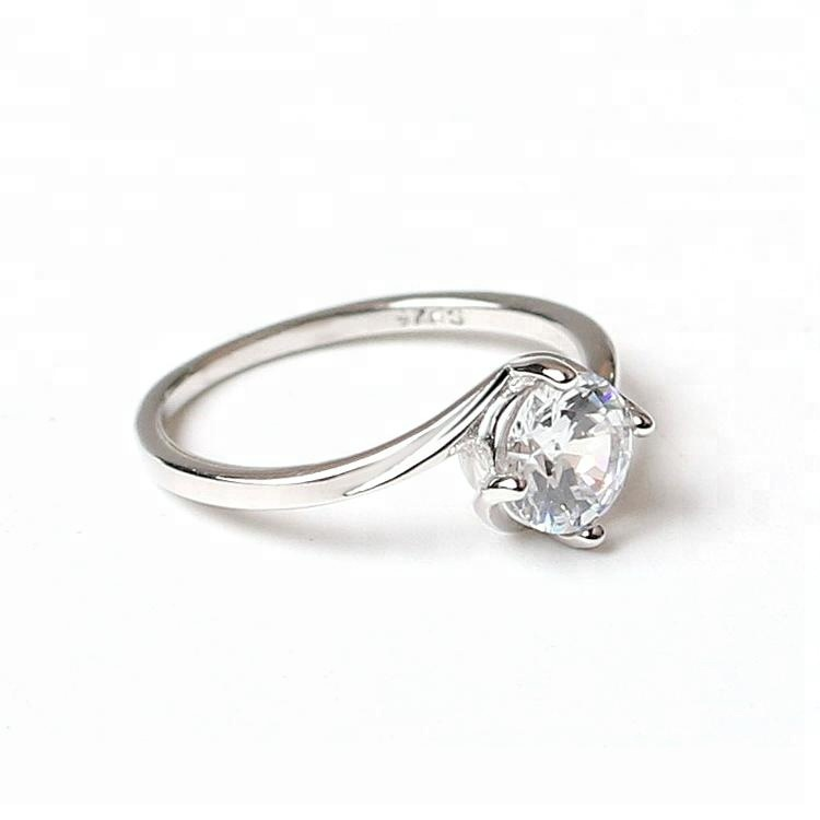 Creative Cubic Zirconia Engagement 925 Silver Diamond Ring