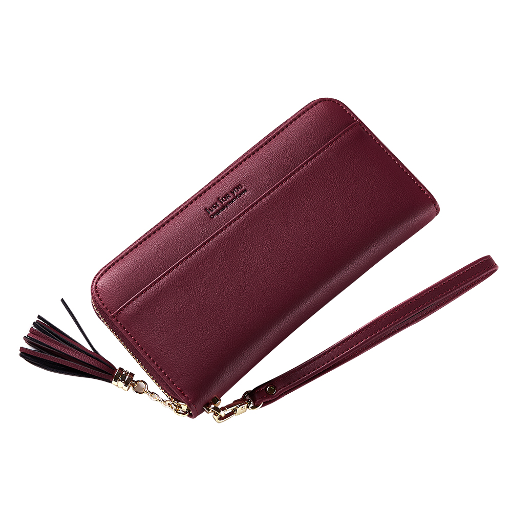 Simple PU Leather Zipper Women Wallet Long Ladies Purse With Tassels