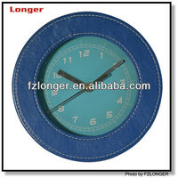 6 inch round leather clock wall LG8202
