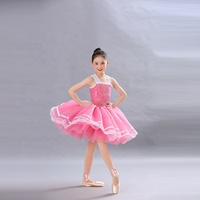 pink sequin ballet tutu skirt lovely girl dance wear flower pink tulle dance costume