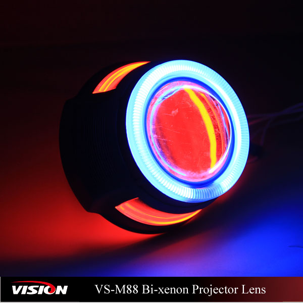 Colourful Universal Led Double Angel Eyes Bi Xenon Projector Lens