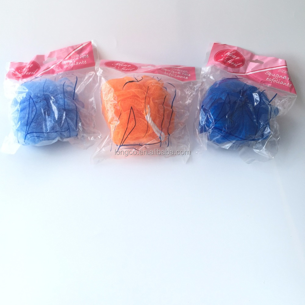 Mesh Soft Bath Sponge Body Pouf Shower Loop Scrubber Blue