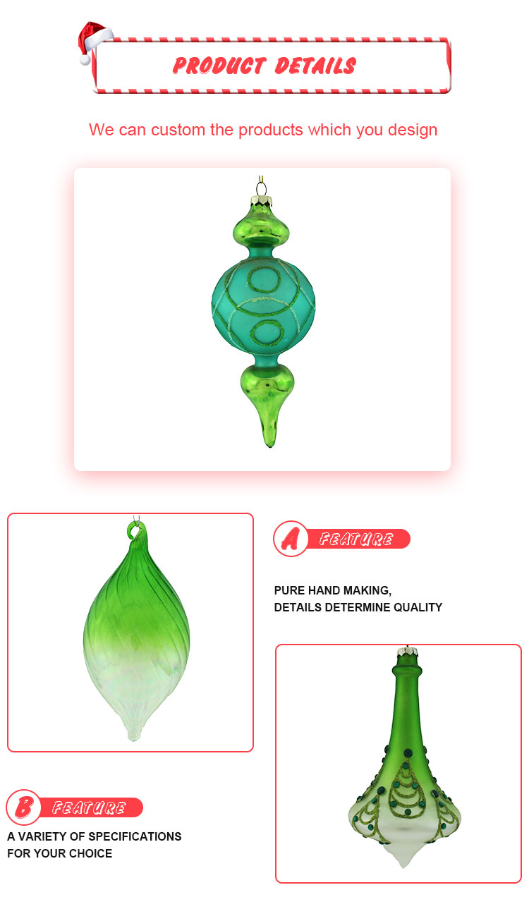 Wholesale Personalized Christmas Glass Shaped Pendant Ornaments For Christmas Tree Decoration