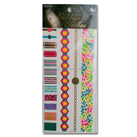 Stock Fashionable High Quality Flash Metallic Gold and Color Tattoo Sticker Supplier