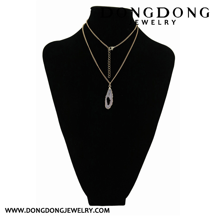 Long golden necklace gold frame hollow milky white Jewelry