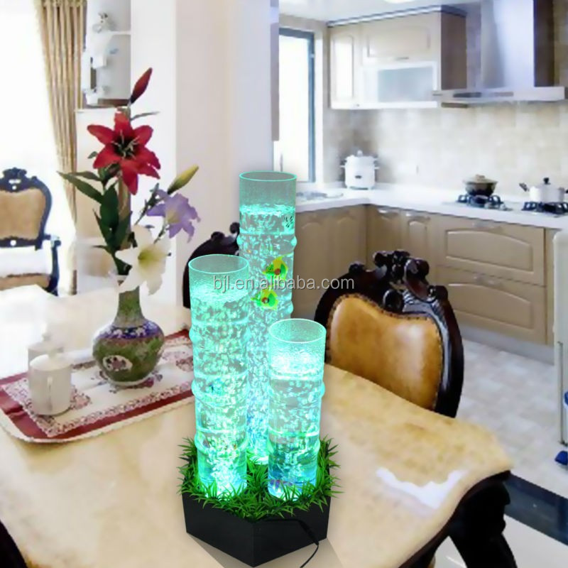 शादी की सजावट रंग बदलने एलईडी लाइट एक्रिलिक एक्वैरियम पानी के फव्वारे टेबल बुलबुला दीवार