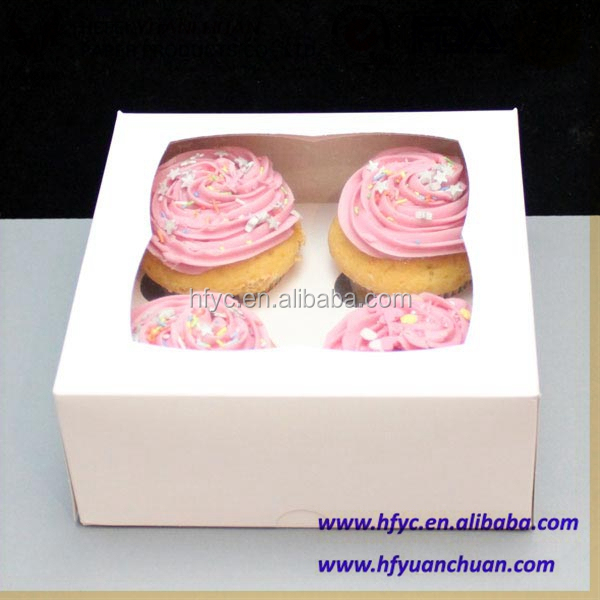 Sweet Wedding Party White Cupcake Boxes For 4 Cupcakes With Window