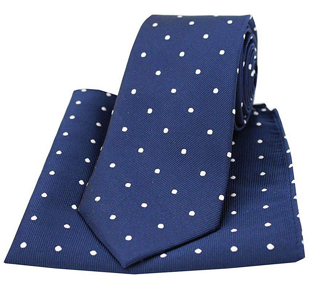 David Van Hagen Mens Striped Polyester Pocket Square Navy//White