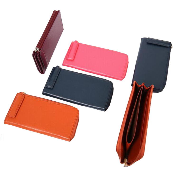 Hot selling smooth leather women zipper wallet with credit card slots fashion mobile phone wallet for iphone 6 plus