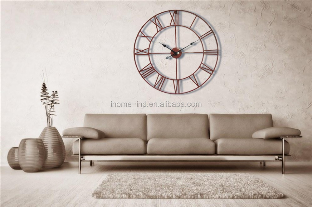 Size Roman Numerals Mental Outdoor Waterproof Wall Clock For Home Decor