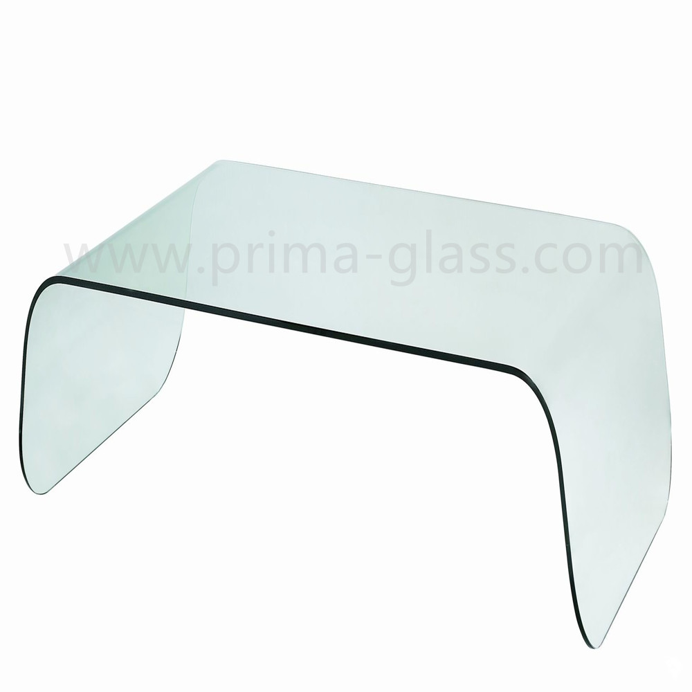Prima bent curved glass coffee table