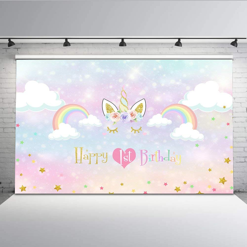 Mehofoto Happy 1st Birthday Backdrop Smiling Gold Unicorn Backdrops Photography Loving Heart Watercolor Rainbow Photo Background for Little Princess 7x5