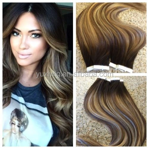 Remy Tape In Human Hair Extensions Ombre Balayage Custom Color Seamless