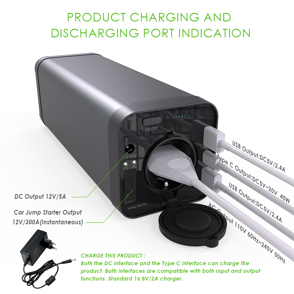 12V Output External Battery Power Bank 40000mah Perfect for Outdoor Household Emergency