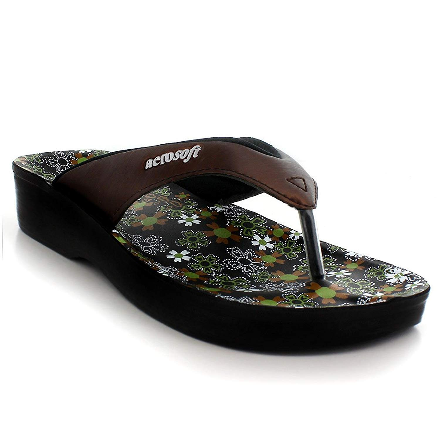 528c30f96 Get Quotations · Aerosoft Original Womens Thong Style Sandals with Printed  Footbed