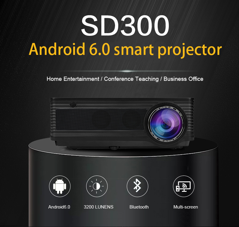 Low Cost SD300 High Brightness LED Projector for Business Education Home Theater 3200 Lumens 1280*768 Full HD 1080P
