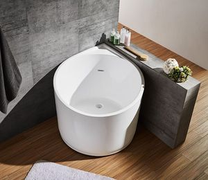 Bathtub design corner round shape small acrylic sitting bathtub, one-piece portable Japanese soaking tub