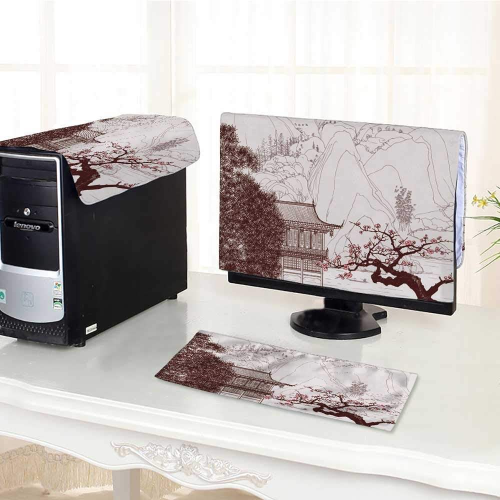 """UHOO2018 Flat Screen Protector 3 Pieces Draw Chinese Landscape with Bloom Pink Flowers Anti-Static Vinyl /25"""""""
