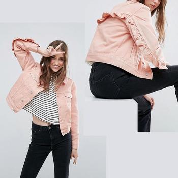 7dc5a4b2 fashion streetwear best items woman washed pink denim jean jacket with  ruffle back