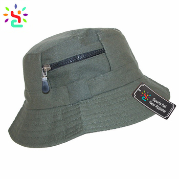 285b39e5acc Plain bucket hats with zipper pocket fisherman hat cool sun cap without  string boonie hat